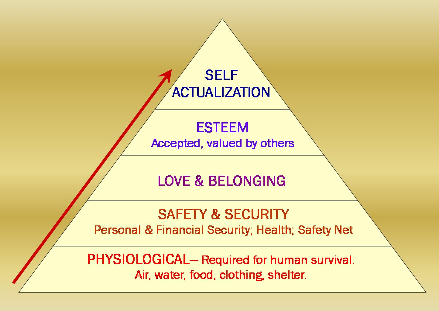 maslows hierachy and google Maslow's hierarchy of needs  maslow suggested that the fi rst and most basic need people have is the need for survival: their physiological requirements for .